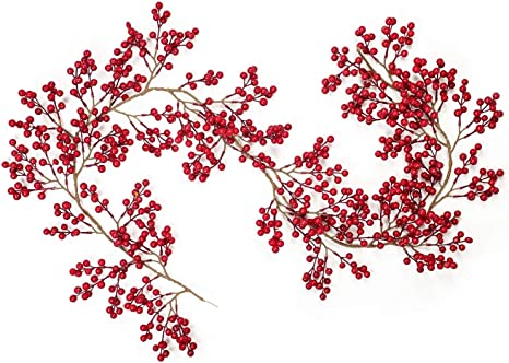 Artiflr Red Berry Christmas Garland 6Foot Flexible Artificial Berry Garland for Indoor Outdoor Home Fireplace Decoration for Winter Christmas Holiday New Year Decor