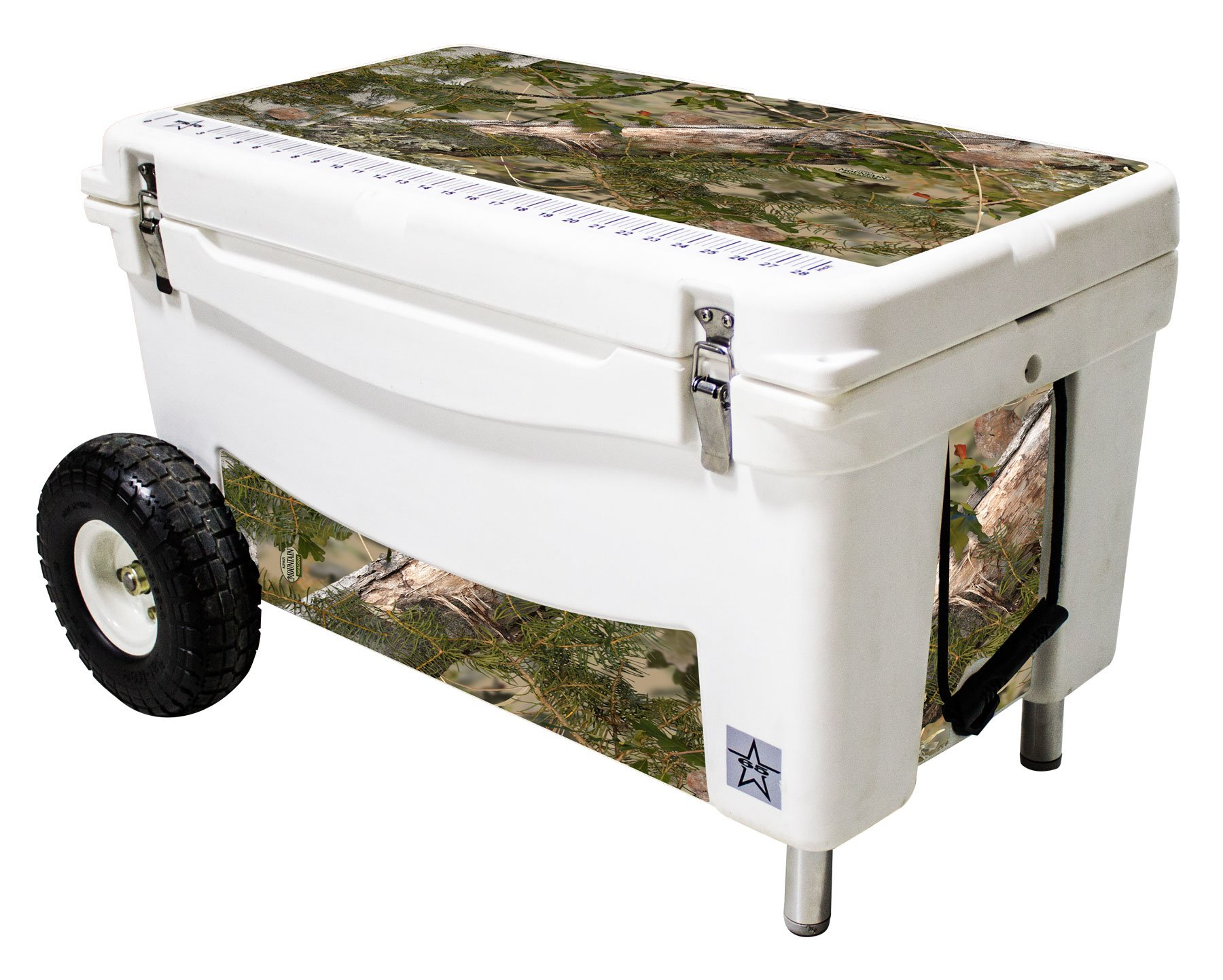 Frio Ice Chests Extreme Wheeled White Hard Side with King's Camo Mountain Theme Vinyl Wrap and Built-In Motion Sensitive Light Bar with Bottle Openers, 65 quart