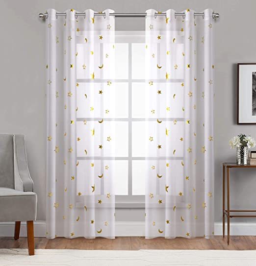 Amazon Com Home Fashion Sheer Curtains Grommets Top Romantic Gold Star Foil Print Window Treatment For Girl Bedroom Glitter Stars Thin And Soft Curtains Panel For Kids Room 54 Wide By 84 Long