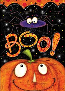 Custom Decor Boo Spider - Halloween - Garden Size, Decorative Double Sided, Licensed and Copyrighted Flag - Printed in The USA Inc. - 12 Inch X 18 Inch Approx. Size