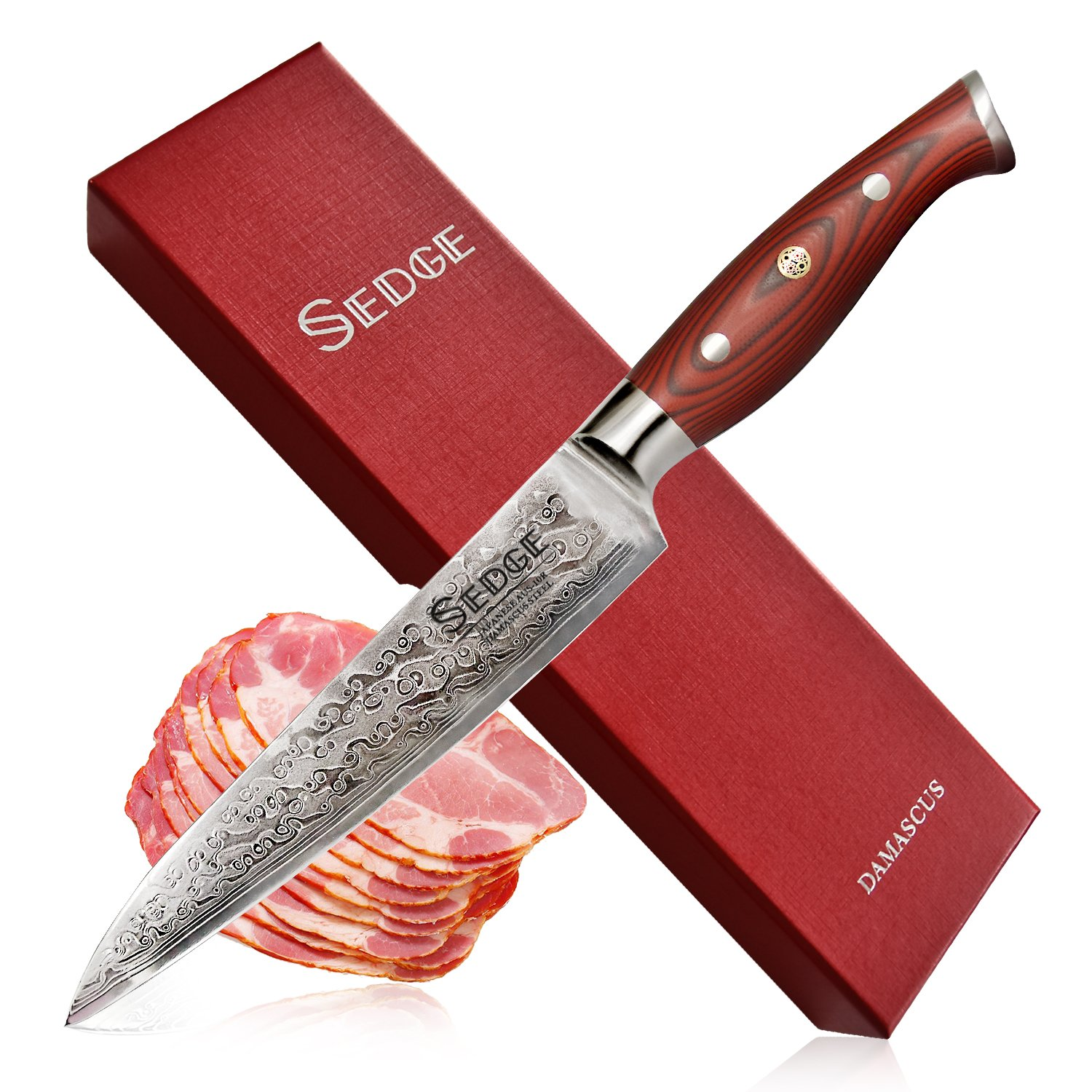 Sedge Slicing Knife - Japanese Damascus AUS-10V High Carbon Steel - Pro Brisket Meat Carving Knife 8 Inch - With Non-Slip Ergonomic G10 Handle With Case - SD-S Series