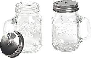 Mason Craft & More Glass Tableware Collection- Durable Stain Resistant Odor Resistant Vintage Design, Set of 2 Large 8 Ounce Shakers