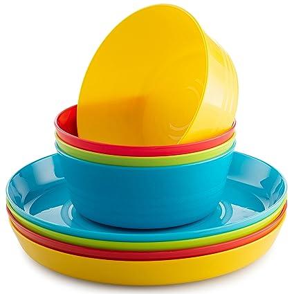 amazon com kids plates kids bowls set by plaskidy includes 4