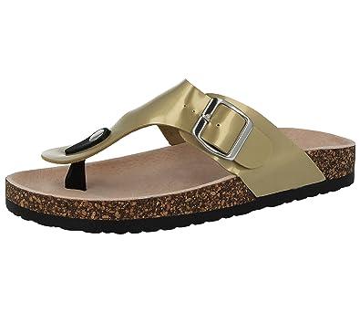 f1e0ae48cdf3 Ladies ELLA Roma Patent Faux Leather Buckle Toe Post Flat Cork Summer Flip  Flop Sandals Size