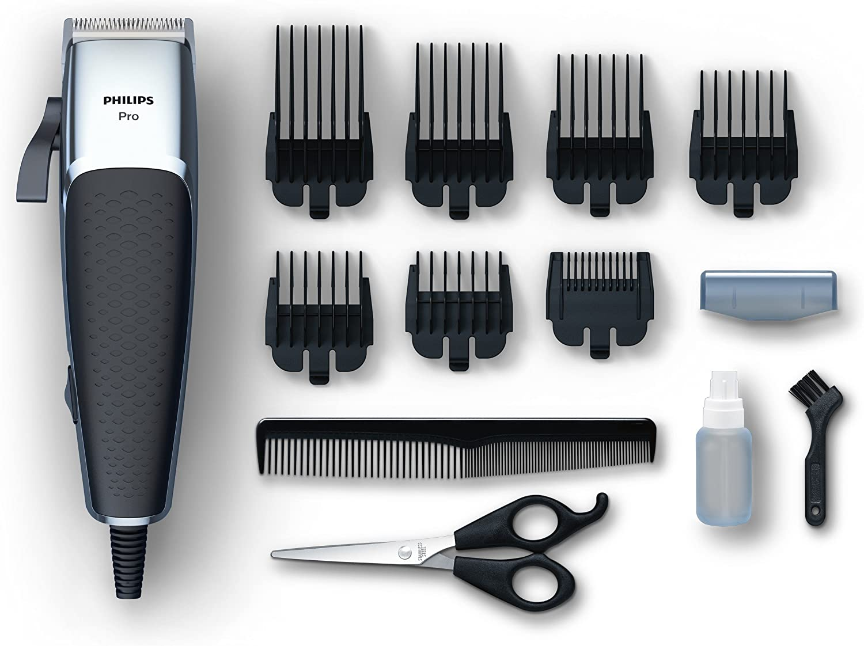 Philips HC5100/15 Cortapelos Profesional con 7 peines guía, Cuchillas afiladas para un Afeitado apurado y preciso, Plata