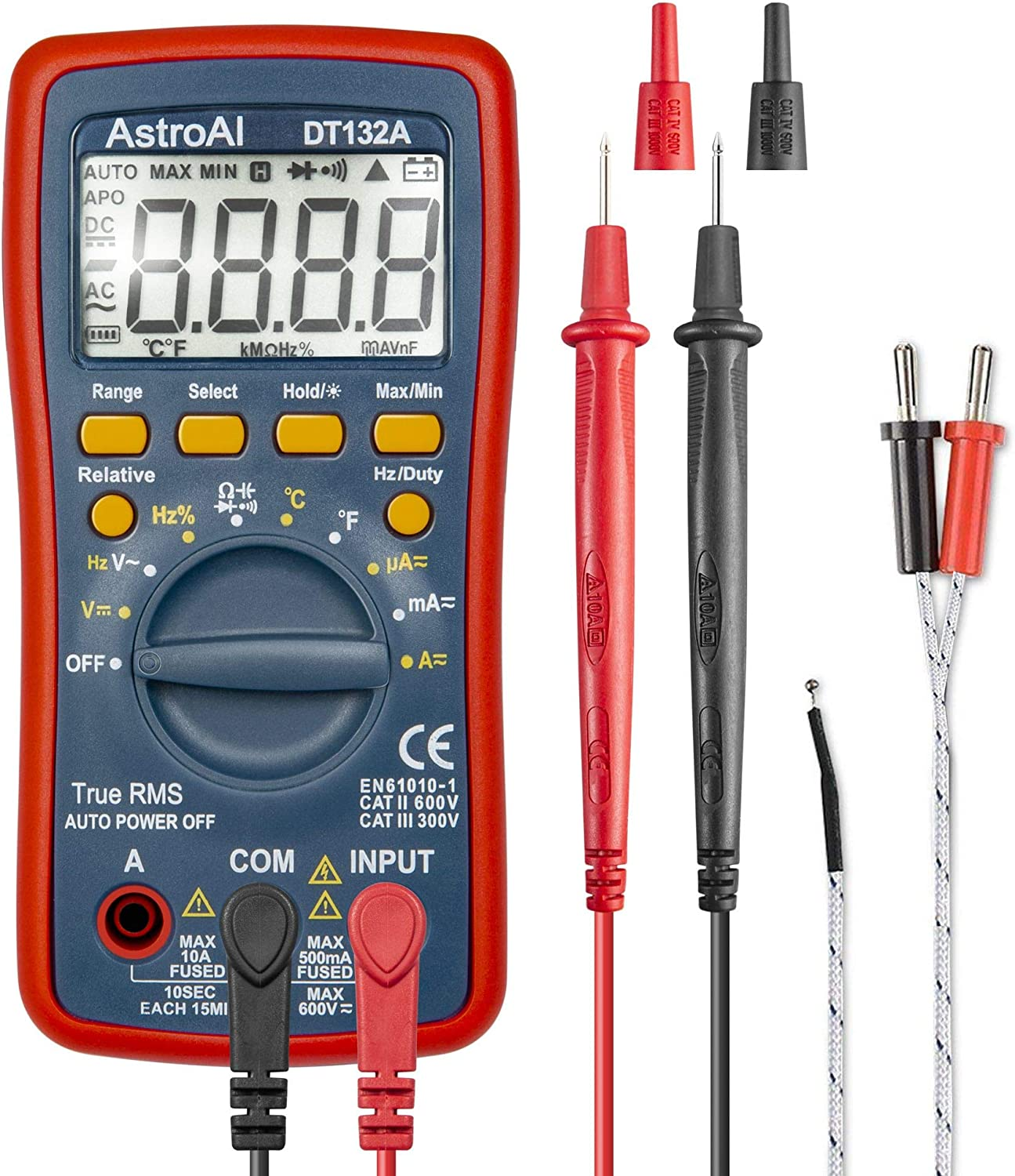 ULTRICS Auto Range Digital Multimeter TRMS 6000 Count Voltmeter Ammeter Multi Tester Measures Voltage Current Resistance Continuity Capacitance Frequency Transistors with Backlit LCD