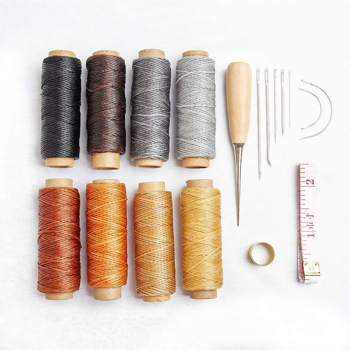 18pcs Waxed Thread with Hand Sewing Needles Kit and Drilling Awl Thimble 150D 1mm Hand Stitching Cord for Leather Craft DIY (18 Leather Sewing kit) Rabbica