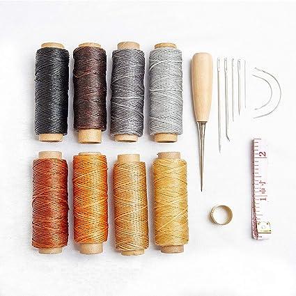 18pcs hilo encerado con agujas de coser a mano Kit y taladrar taladro 150 D 1
