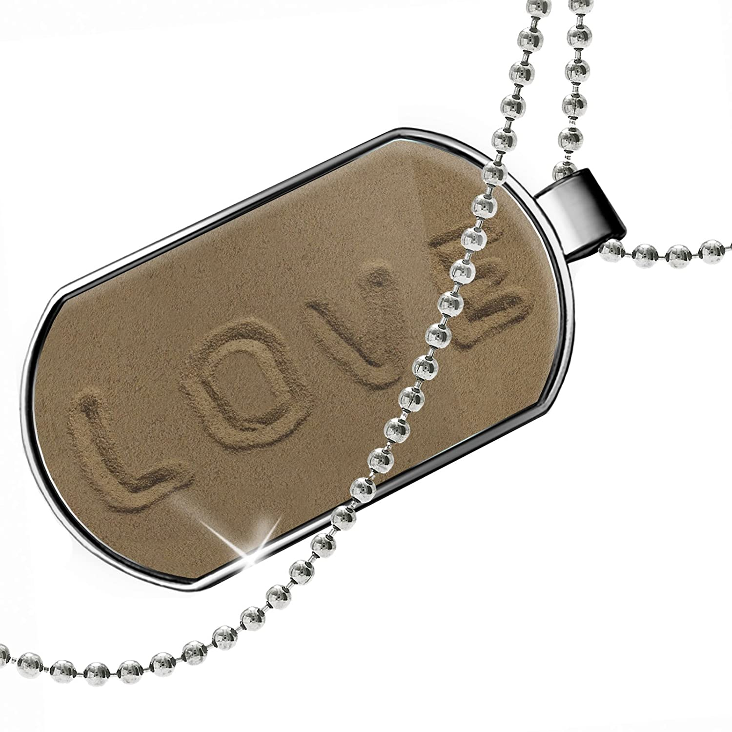 NEONBLOND Personalized Name Engraved Love Sand Dogtag Necklace