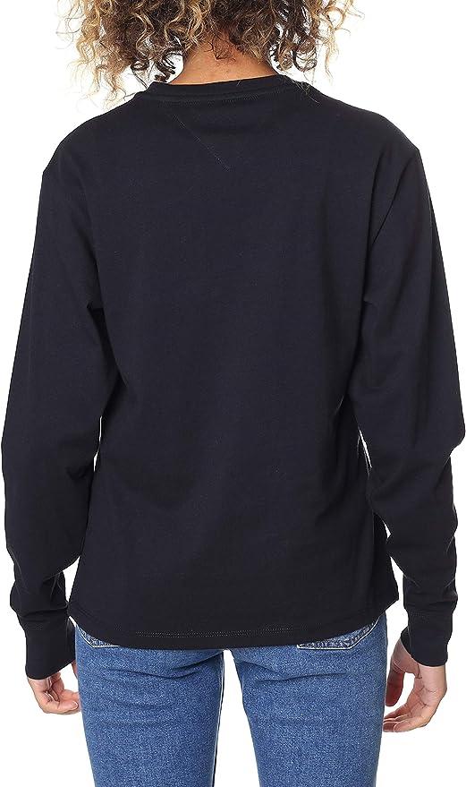 Tommy Jeans Damen Multi Logo Langarm  Langarmshirt Hilfiger Denim DW0DW05286