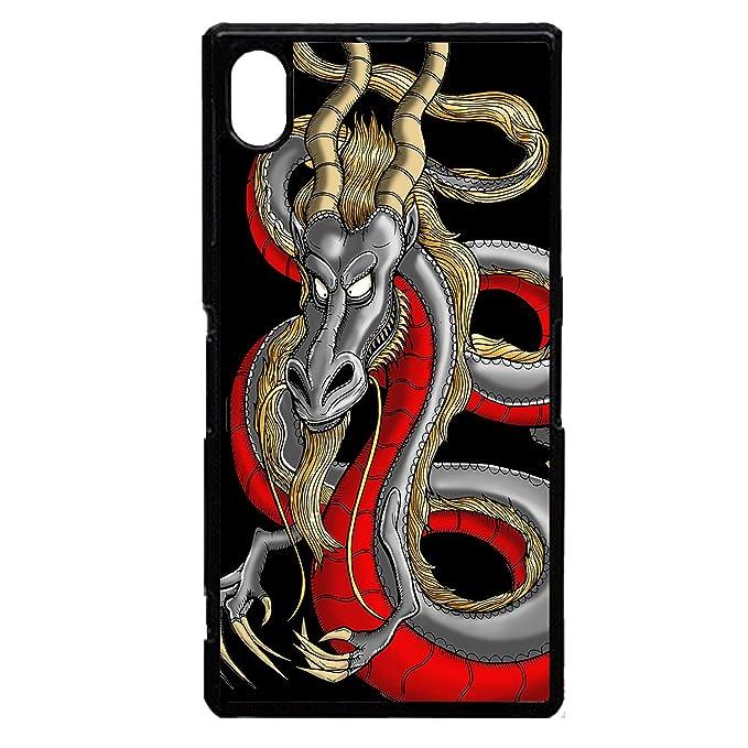 Chino negro y rojo dragon tatuaje graphic art cool de plástico ...