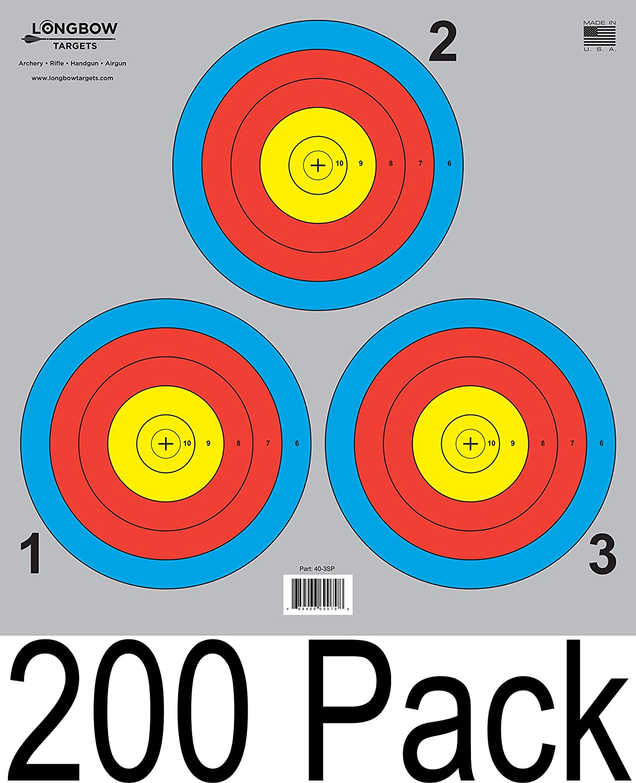 (ロングボウ) Longbow アーチェリー 5スポット&3スポット Vegasシリーズ 的紙 8枚/20枚/50枚/200枚セット 3 Spot (200 Pack)