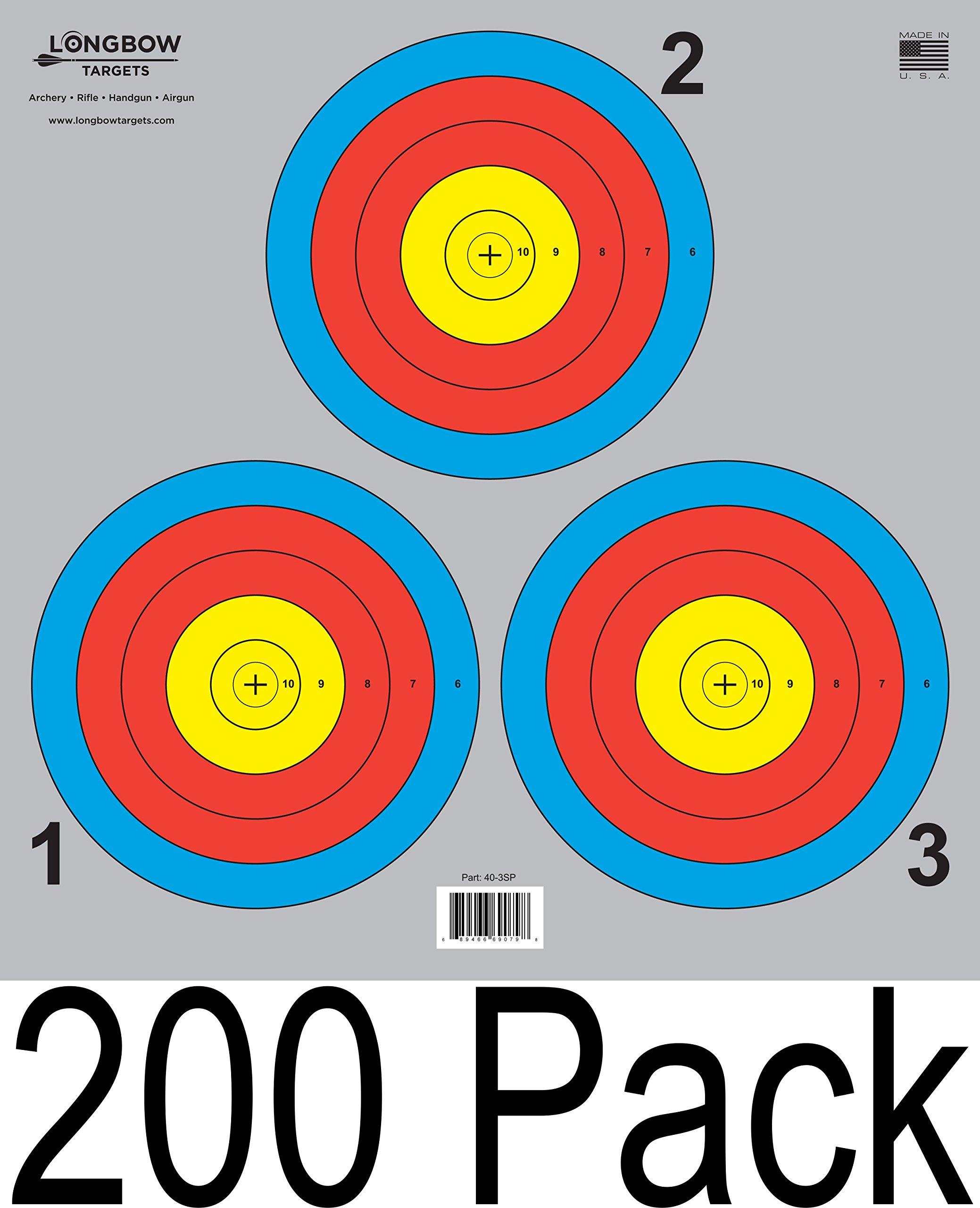 Archery 5 SPOT & 3 SPOT Vegas Targets by Longbow 8, 20, 50 & 200 Packs (3 Spot (200 Pack))