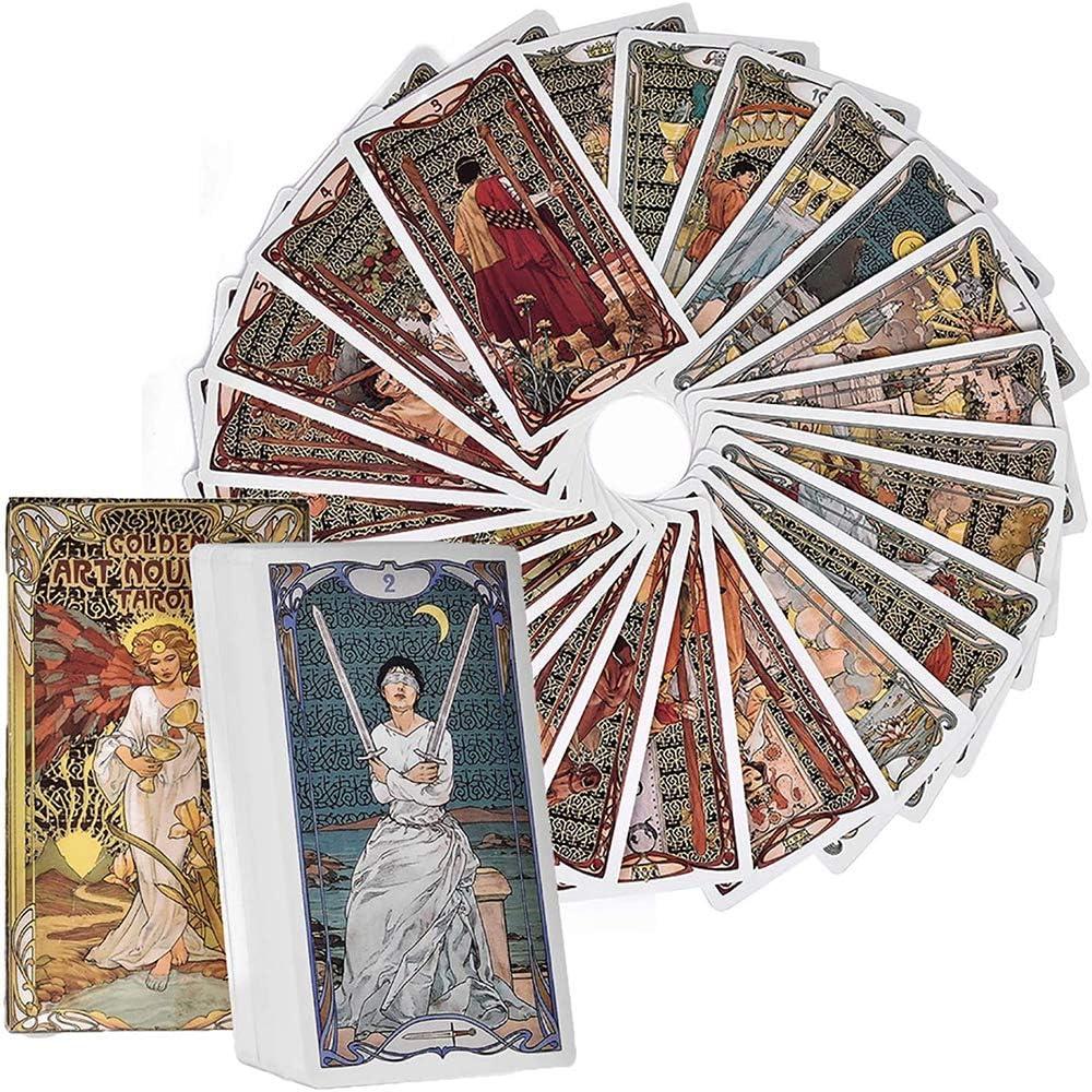 DFGHJKNN Golden Art Nouveau Sistemas De Juegos De Tarot,Cartas De Tarot,Baraja De Tarot 78 Cartas,Juegos De Mesa para Fiestas Familiares,Divertidas Tarjetas De Juego,Versi/ón En Ingl/és