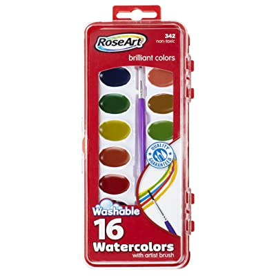 RoseArt 16-Color Washable Watercolors with Brush, Packaging May Vary (DFB79): Office Products