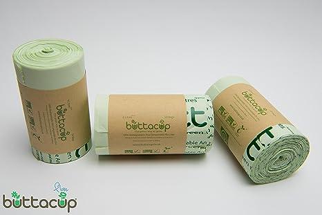 Buttacup 150 Bolsas x 6 litros Bolsas/Bolsas de Basura compostables, Base aromática para Cocina Caddy Desperdicio de Alimentos (3 x Paquetes de 50)