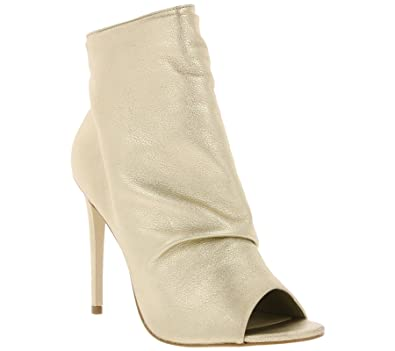 Buffalo Damen High Heels Stiefeletten Stilettos Leder Peeptoes ZS6753-16