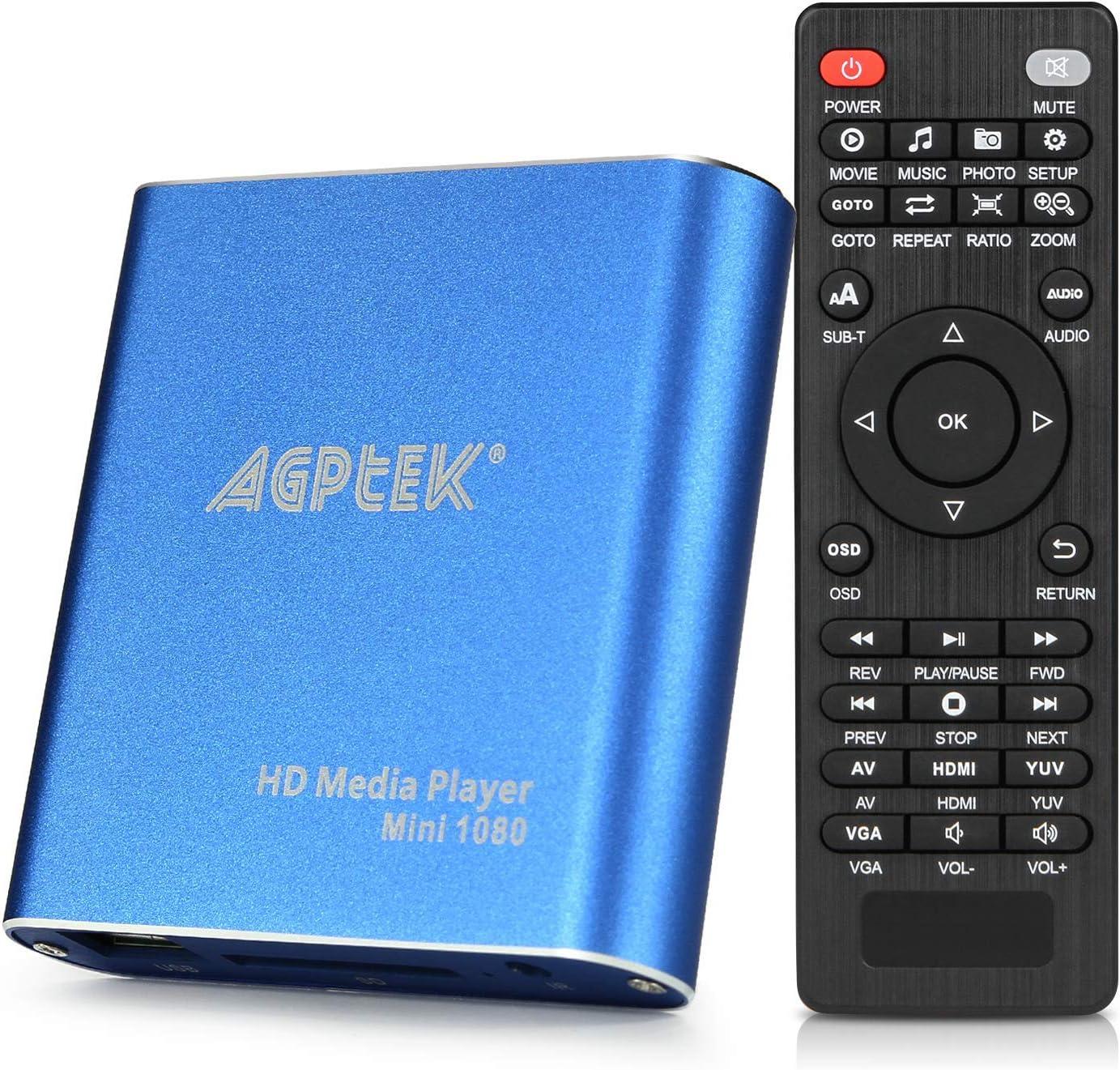Lecteur multimédia HDMI, AGPTEK Mini Lecteur Multimédia Numérique 1080p Full HD Ultra HDMI Pour Lecteurs MKV RM HDD USB Bleu