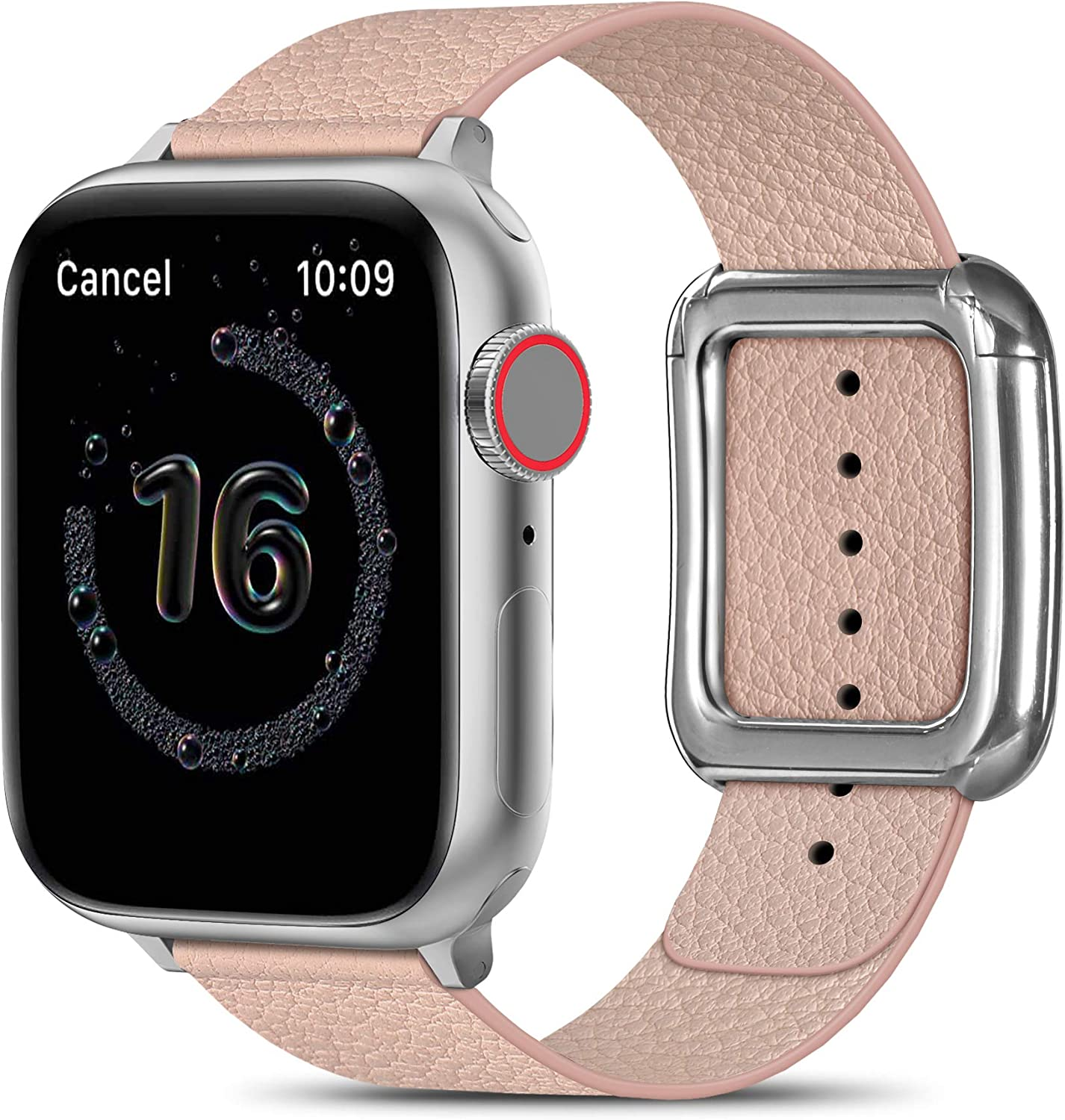 MARGE PLUS Compatible with Apple Watch Bands SE Series 6 5 4 40mm 44mm / Series 3 2 1 38mm 42mm for Men Women, Soft Leather Replacement with Magnetic Clasp for Apple Watch Band - Pink/Silver