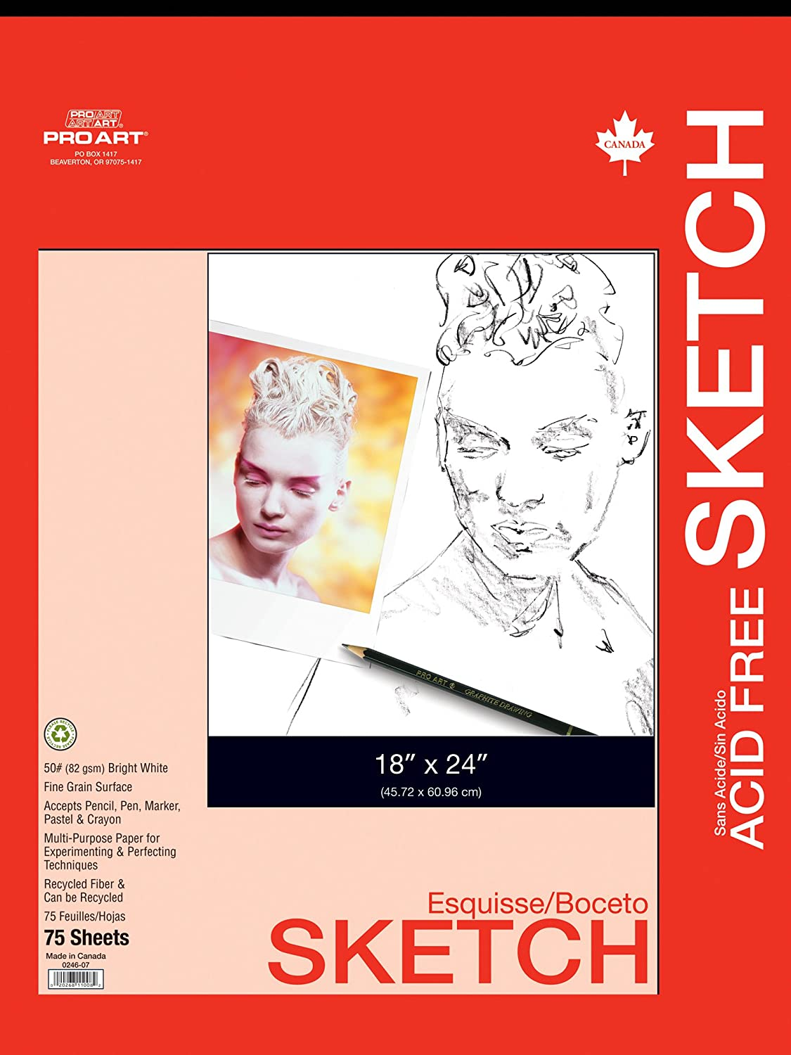 100 Sheets PRO ART 8-1//2-Inch by 11-Inch Sketch Paper Pad