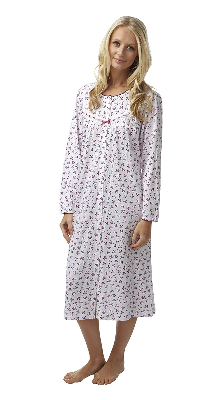 NEW M/&S Striped Nightie Nightdress White Blue 8 10 12 14 16 18 20