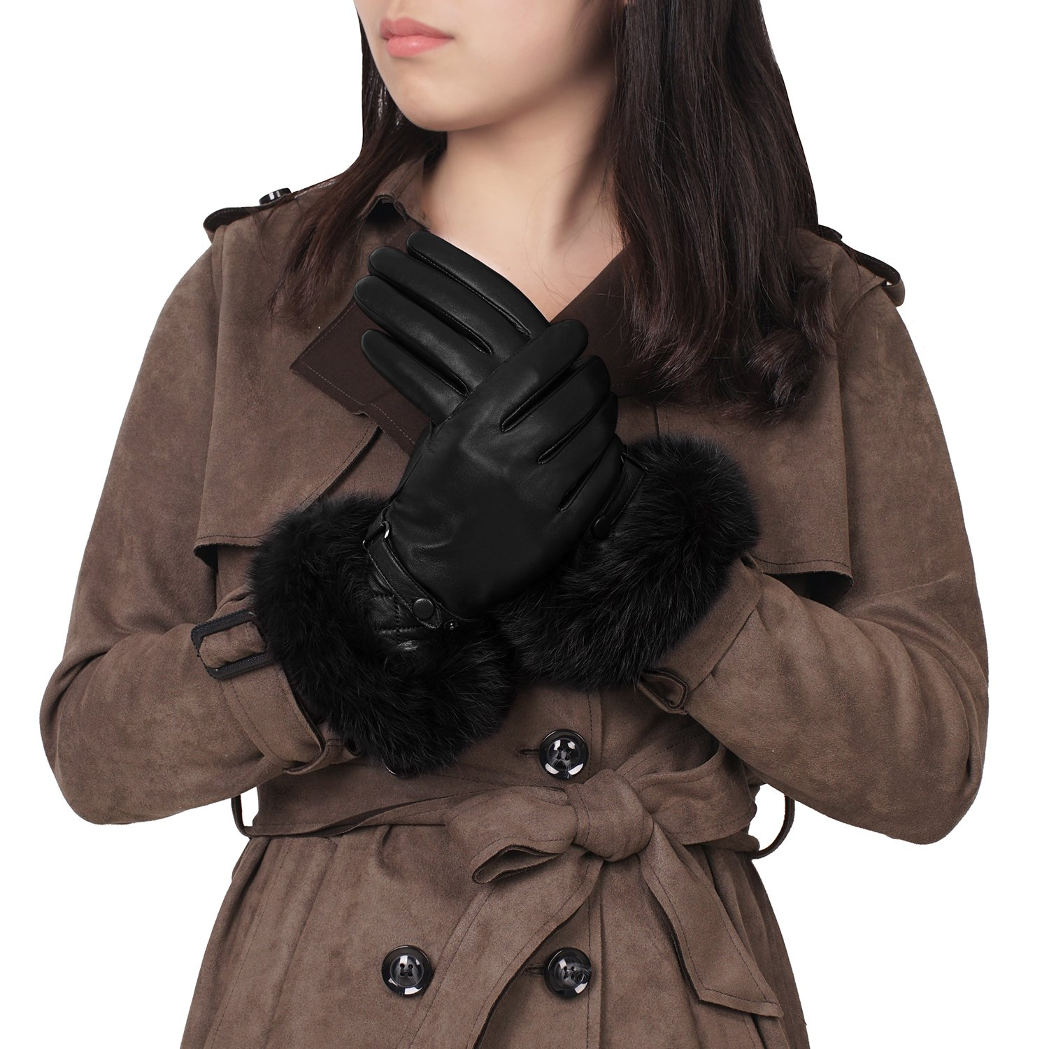 GSG Womens Luxury Italian Genuine Nappa Leather Gloves Fashion Fur Trim Full Palm Touchscreen Winter Warm Gloves Black 8.5 by GSG (Image #1)