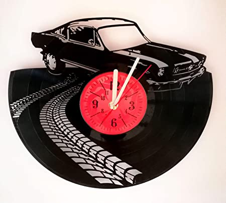 Ford Mustang Wall Clock Made from 12 inches 30 cm Vintage Vinyl Record Ford Mustang Gift for Men Boys Husband Sport Clock Ford Mustang Merchandise