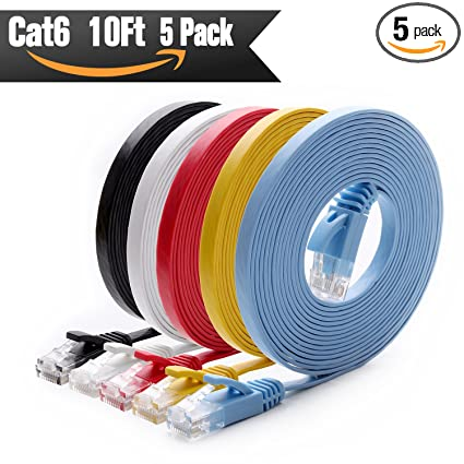 Amazon.com: Cat 6 Ethernet Cable 10 ft (5 Pack) (at a Cat5e Price ...