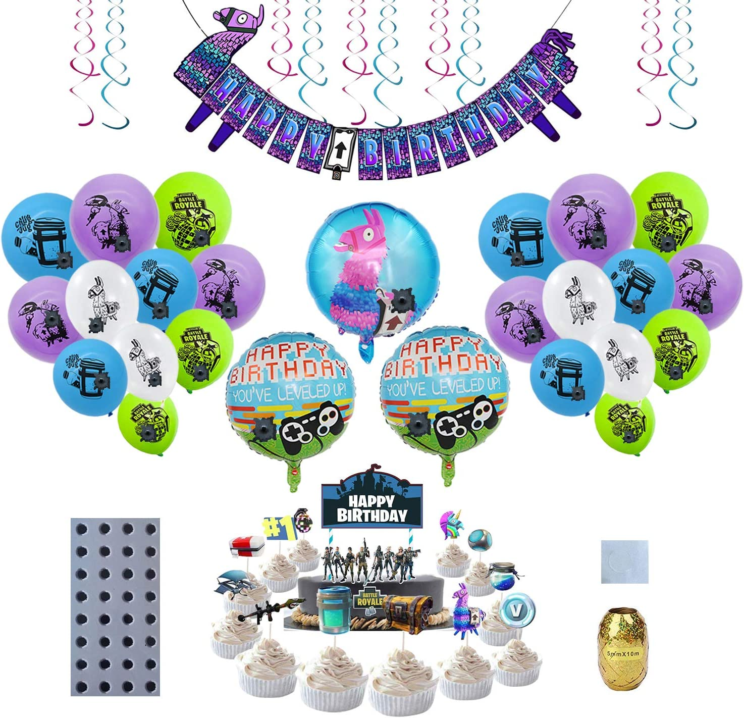 Gamer Party Supplies, Video Game Party Supplies, Including Llama Happy Birthday Banner, Gamer Cake Topper/Cupcake Toppers, Gaming Balloons for Kids/Game Fans