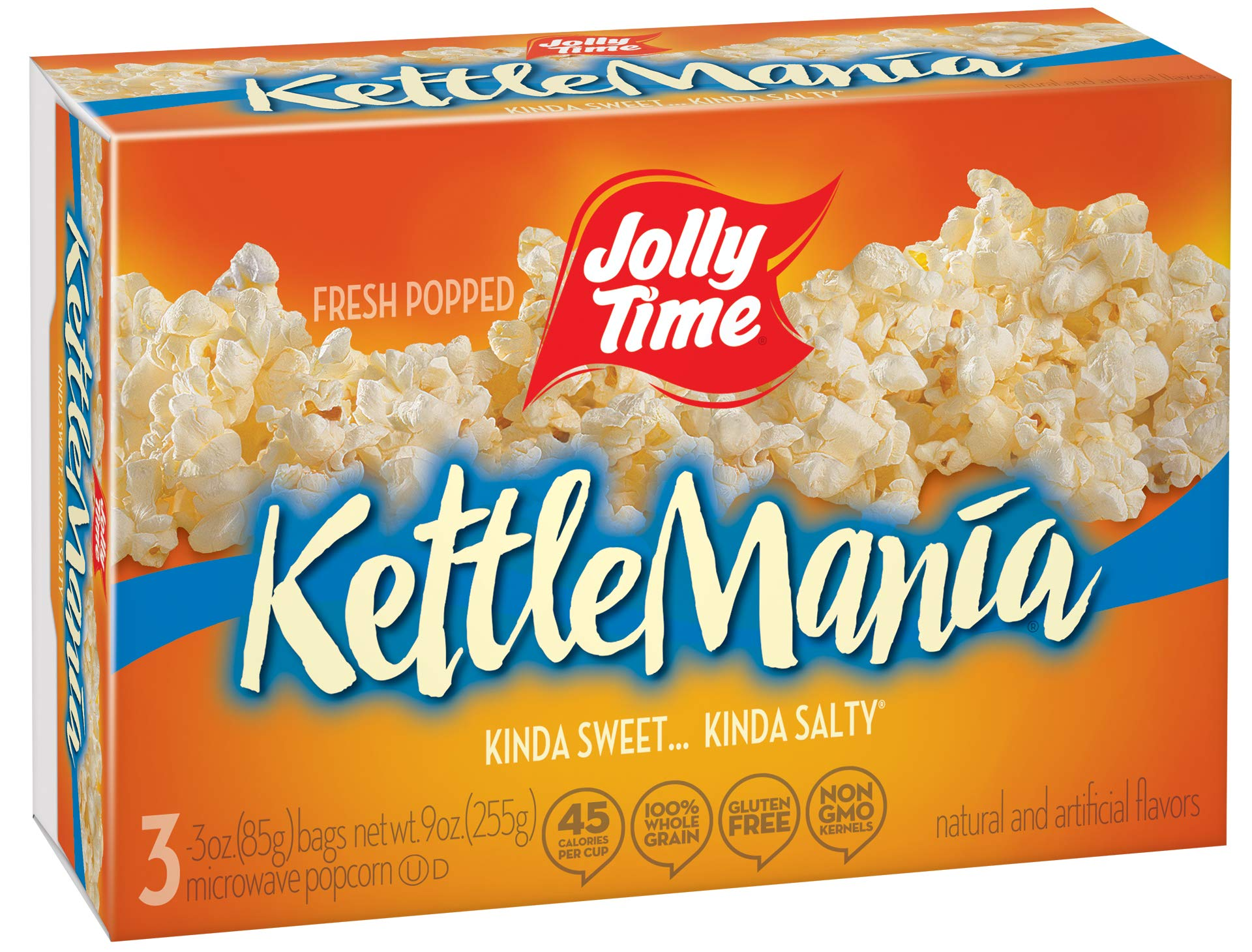 JOLLY TIME KettleMania Microwave Popcorn Sweet & Salty Gourmet Kettle Corn, 3Count (Pack of 12) by Jolly Time