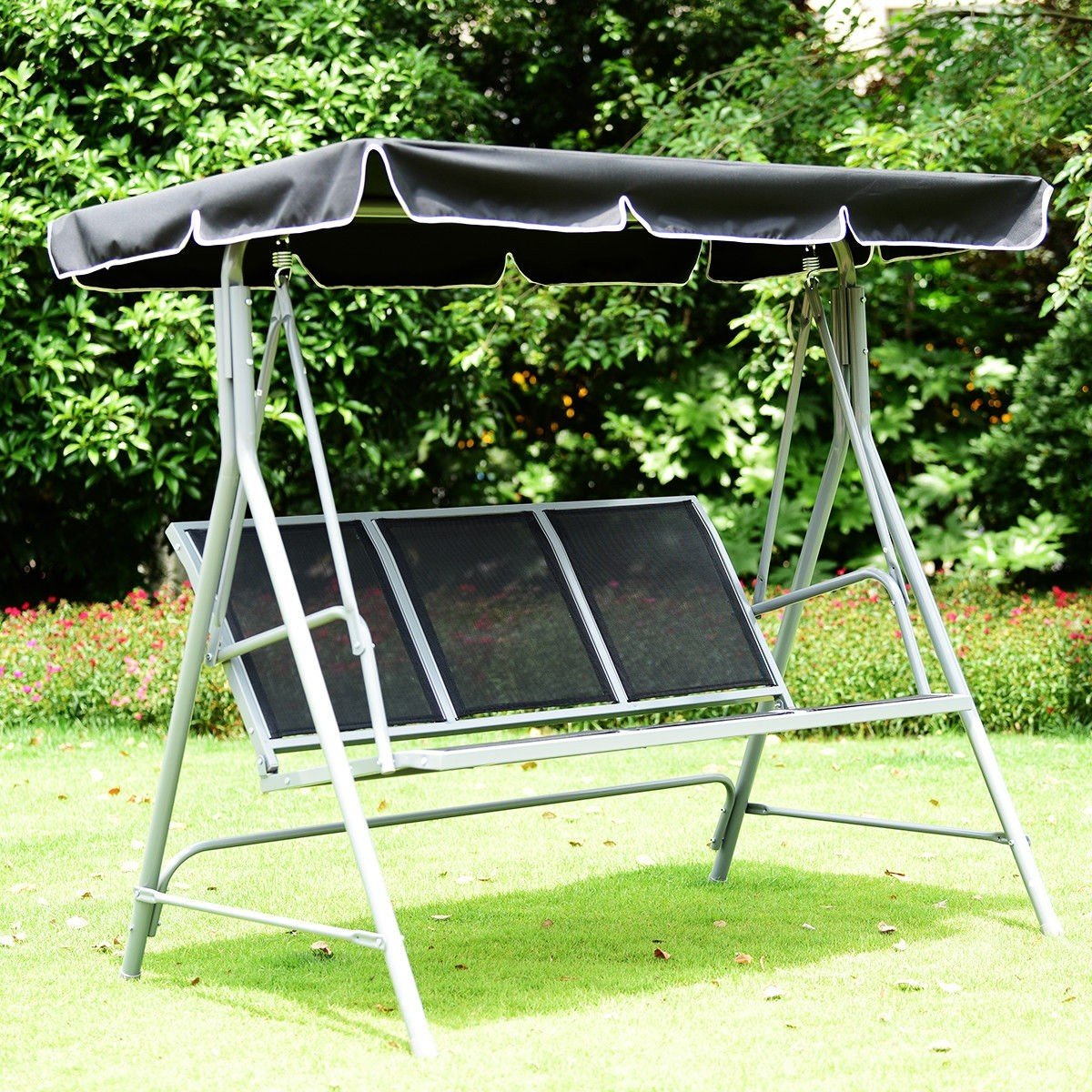 Dayanaprincess 3 Persons Patio Powder Finish Canopy Deck Swing Bench Heavy Duty Steel Construction Outside Chairs for Porch Garden Backyard Decor by Dayanaprincess (Image #2)
