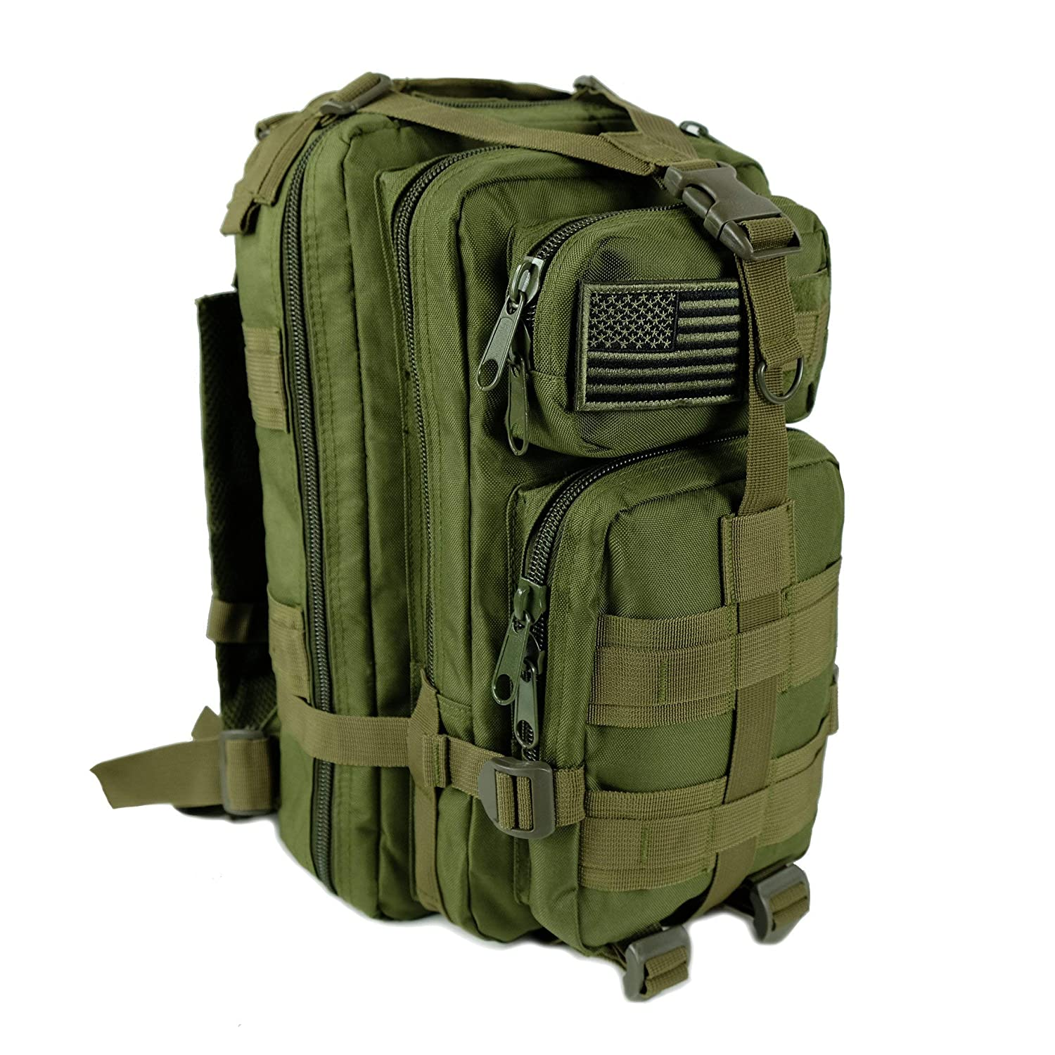 Tactical Ops Military Tactical Backpack Army Combat 3 Day Assault Pack Molle Bug Out Bag Rucksacks for Outdoor Hiking Camping Trekking Traveling and Hunting with Flag Patches (Green, 30L) [並行輸入品] B07R3Y9LL1