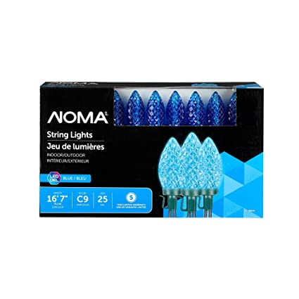 Noma Led C9 Christmas Lights Indoor Outdoor String Lights Blue Bulbs 25 Light Set 16 8 Foot Strand Ul Certified