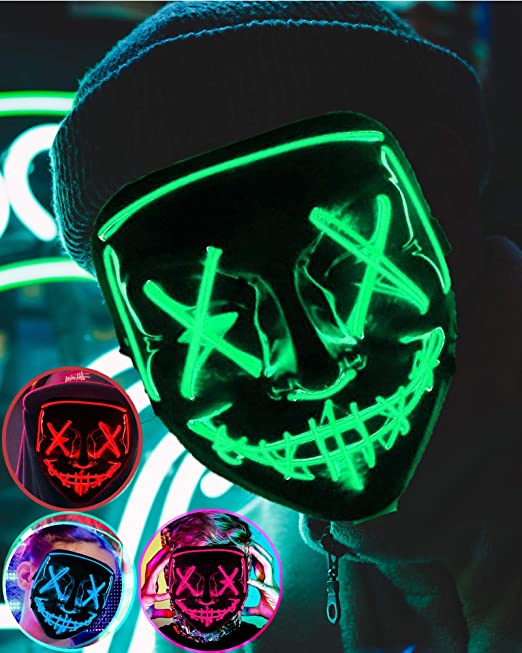 Neon Mask LED EL Wire Light Up Party Purge Halloween glow in the dark GLOW GREEN