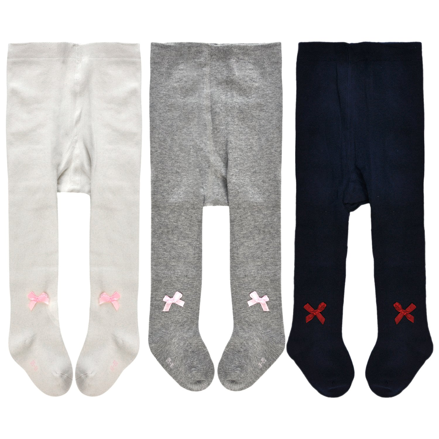 Epeius Little Kids Girls 3 Pack Seamless Bowknot Cotton Tights for 2-4 Years,White/Navy/Grey