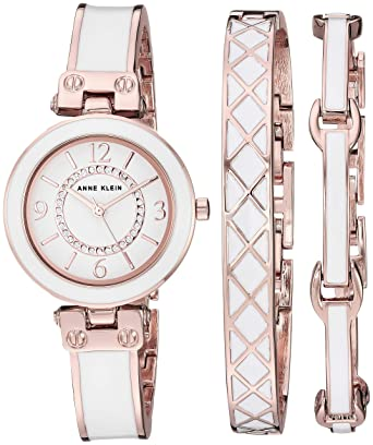 1894f5aee72 Anne Klein Women's AK/3296WTST Swarovski Crystal Accented Rose Gold-Tone  and White Bangle