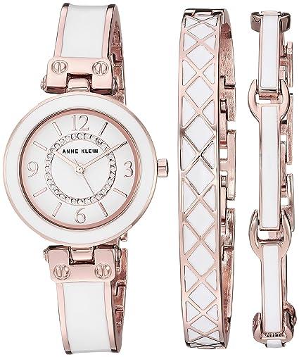 Anne Klein Conjunto de Reloj y Pulsera con Cristales Swarovski para Mujer: Amazon.es: Relojes