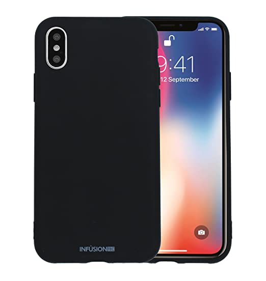 the latest 78b38 1a4e3 Silicone iPhone x case cover for iPhone X Low Profile TPU Liquid Grip Gel  Impact and Shockproof by InfusionTec - Black