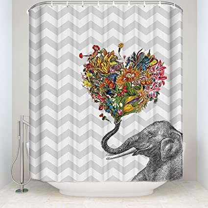 LALADecor Animal Shower Curtain Elephant With Heart Shaped Flowers Wave Lines Backdrop Bathroom Decoration Polyester Fabric