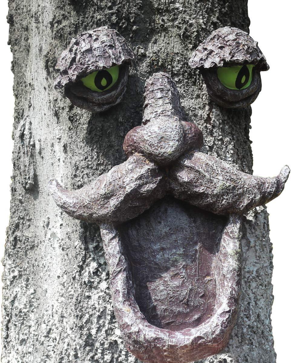 Tree Face Bird Feeder, Outdoor Old Man Wild Bird Feeder Tree Hugger Statues in The Dark Eyes Garden Decor Yard Art