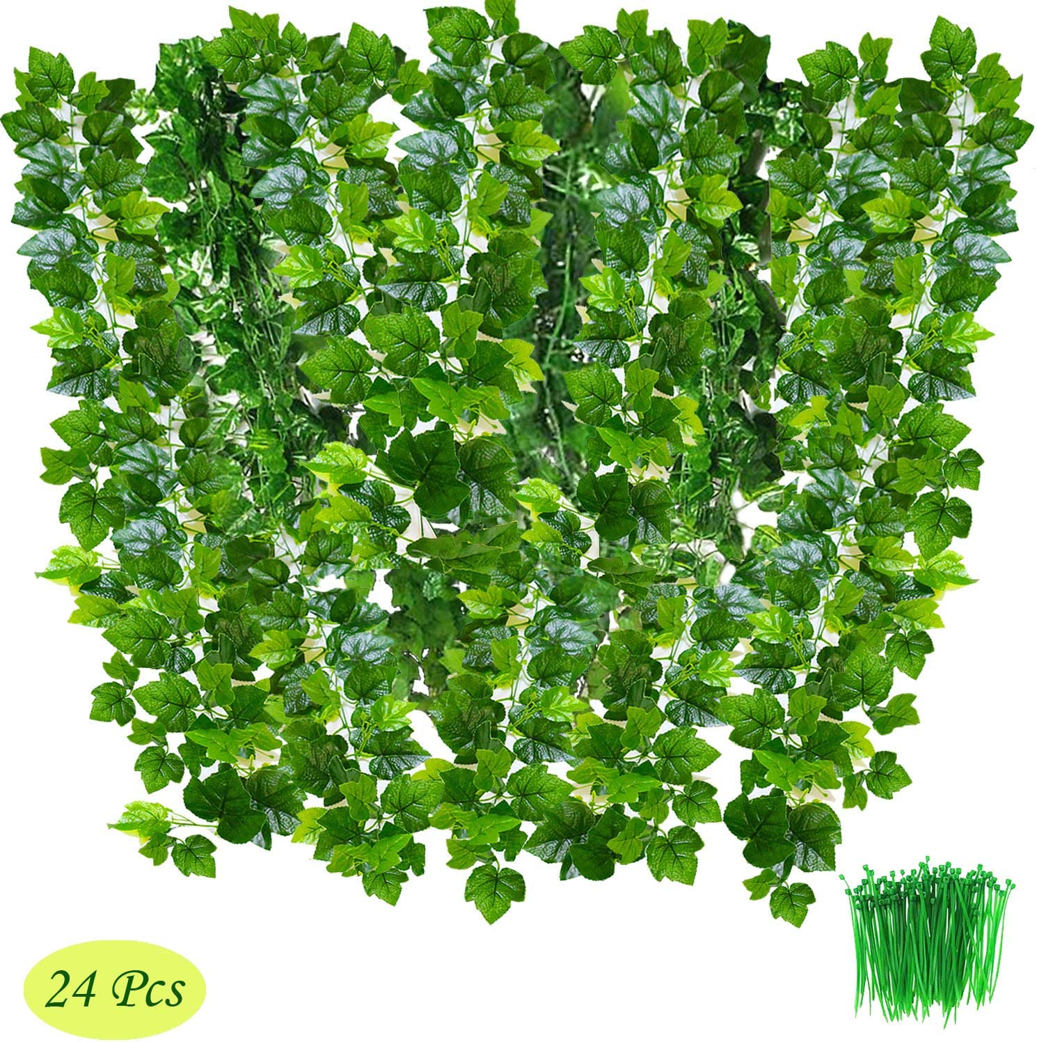 24Pack, 85 Each, 100Pcs Cable Tie Grape Leaves OrgMemory Grape Leaves, Greenery Garlands Hanging for Wedding Party Garden Decor