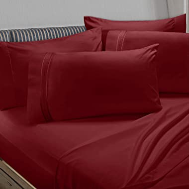 Clara Clark Premier 1800 Collection 6pc Bed Sheet Set with Extra Pillowcases - King, Burgundy Red