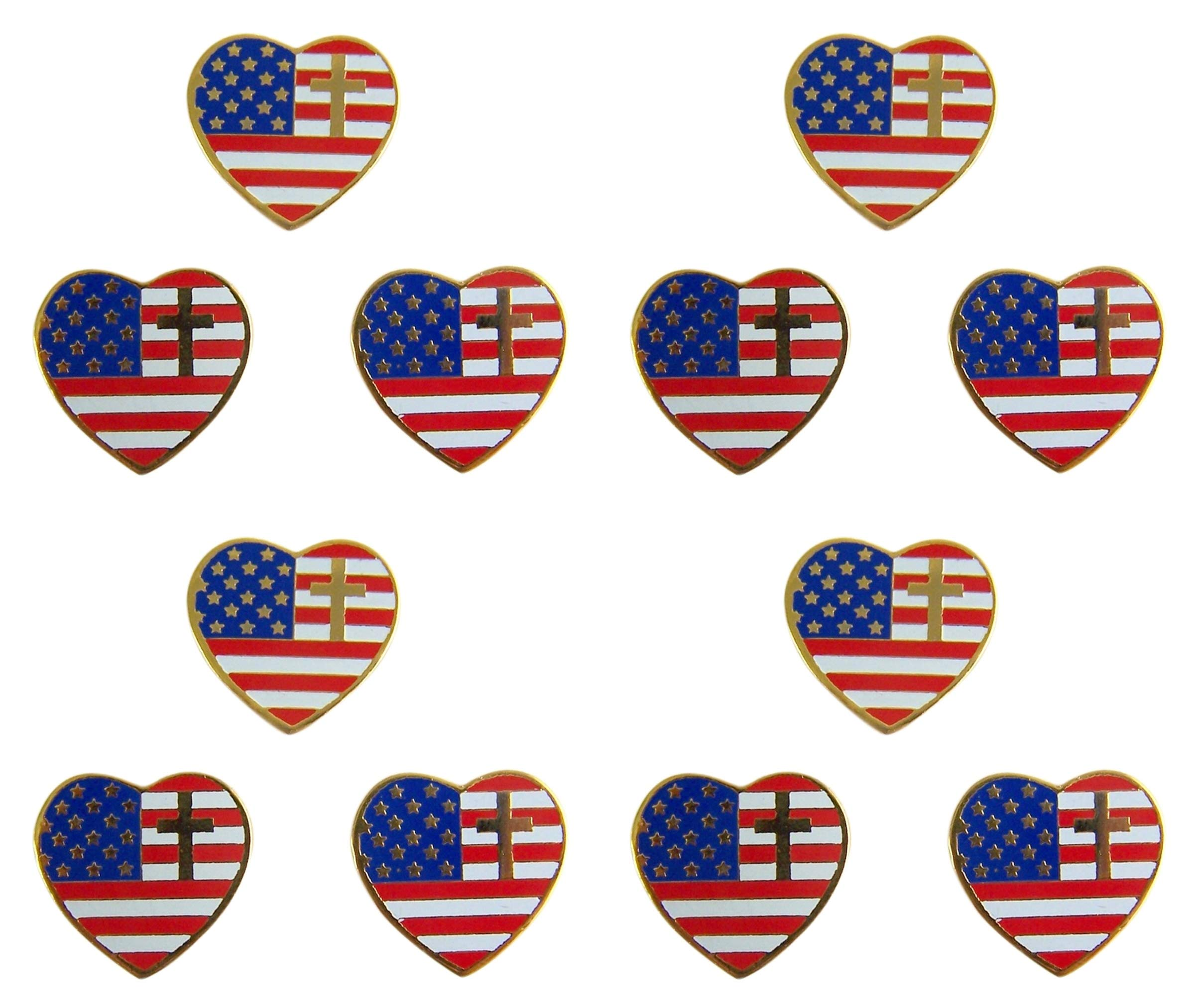 Religious Heart Shaped American Flag with Cross Lapel Pin, 3/4 Inch, Pack of 12