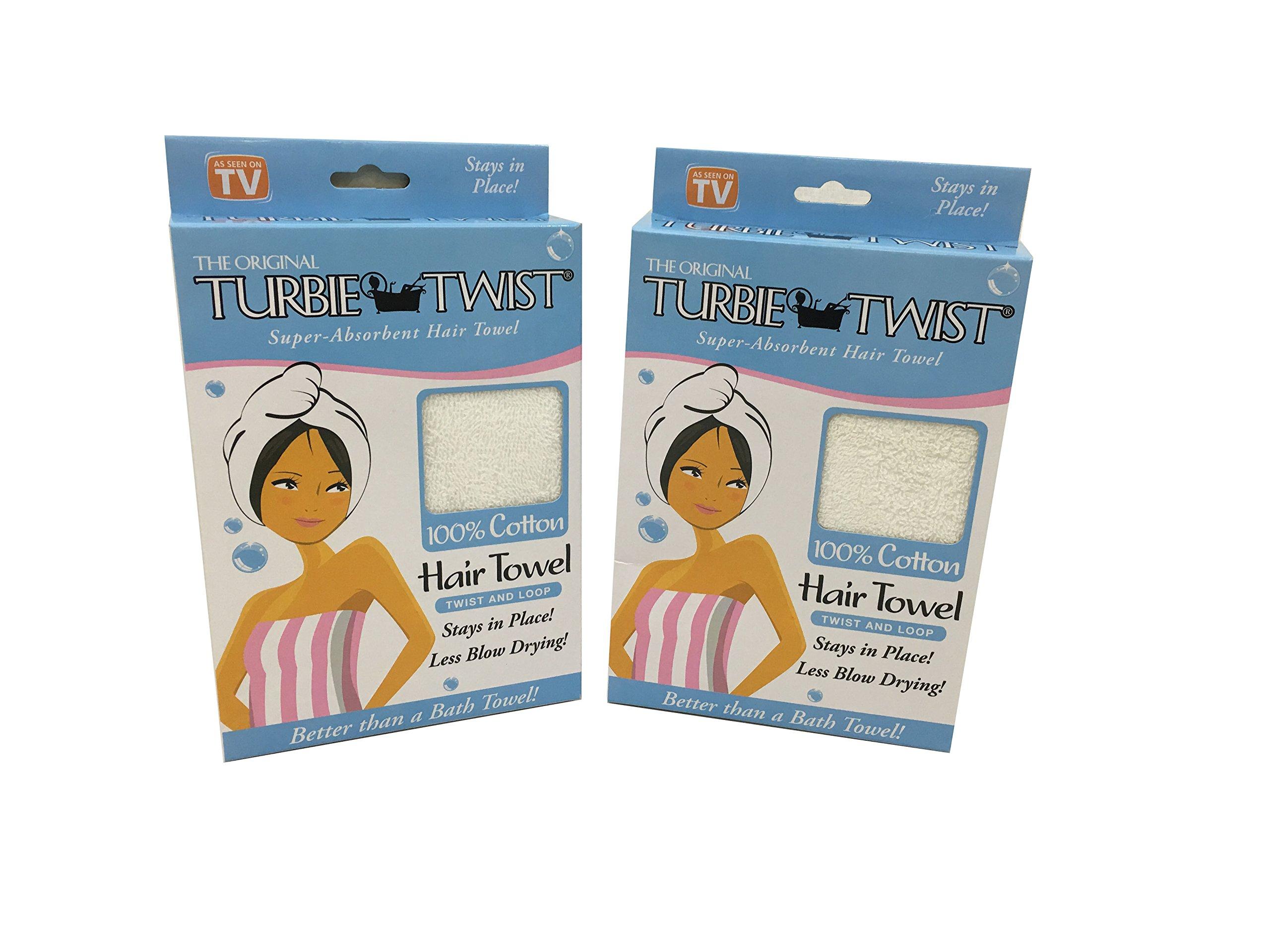 Turbie Twist White Super-absorbent Hair Towel cotton (2) by Turbie Twist