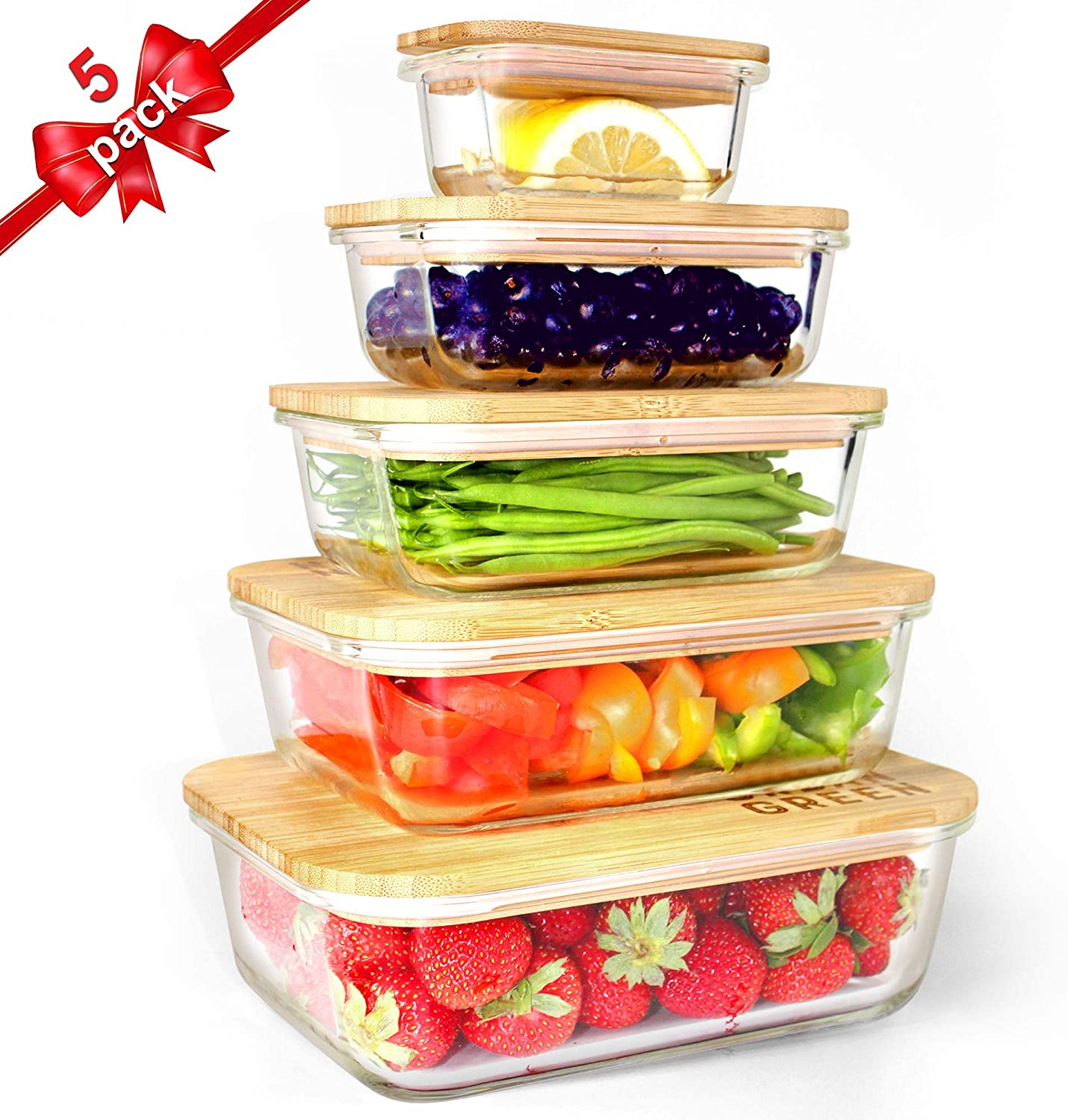 Urban Green Glass Bamboo Lids, Meal Prep Containers Food storage, 5 Pack, Pantry Kitchen Fridge Cabinet Organizer, Lunch box, Butter Dish, Microwave Oven,
