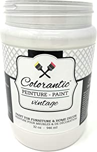Colorantic | Lace White Chalk Based Paint for Furniture & Home Decors Painting DIY | 100% Made in Canada | Decorative Painting for Wax Finish Wood Waverly | Eco-Responsible & Non-Toxic