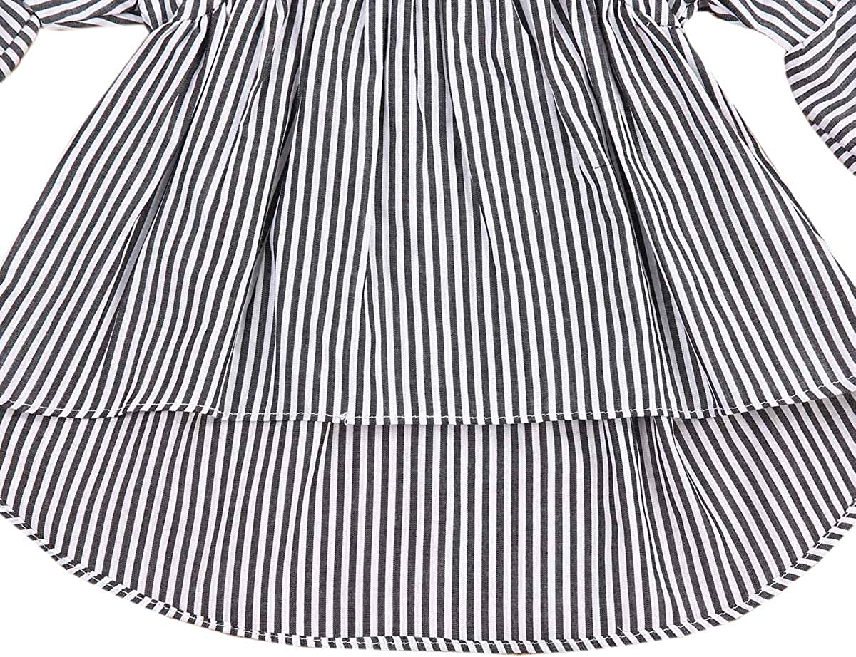 6-24M Styles I Love Baby Toddler Girls Black and White Striped High Low Ruffle Cotton Blouse Casual Top