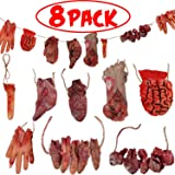 8 Pcs Halloween Horror Party Decorations Hanging Broken Body Parts Halloween Scary Props Garland Banner Props Bloody…
