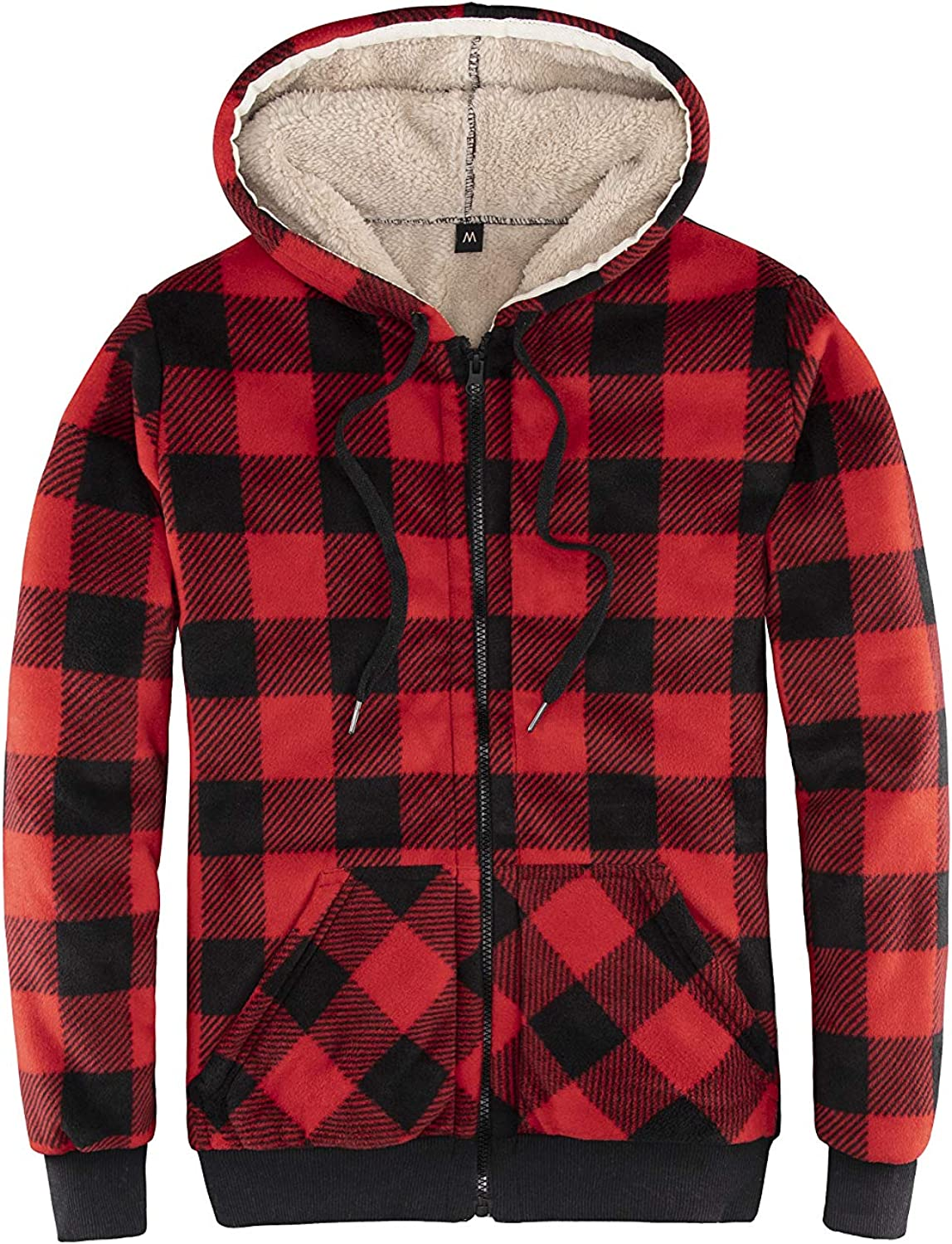 ThCreasa Womens Sherpa Fleece Lined Hoodie Jacket Plaid Flannel Zip up Hooded Sweatshirt Jackets: Clothing
