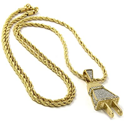 Gold plated mini iced out wall plug hip hop pendant 3mm 24 rope gold plated mini iced out wall plug hip hop pendant 3mm 24quot rope chain aloadofball